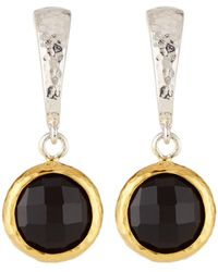 Gurhan - Small Wide Hoop Earrings W/ Black Onyx Drop - Lyst