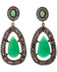 Bavna - Black Silver Marquise-drop Earrings With Chrysoprase - Lyst