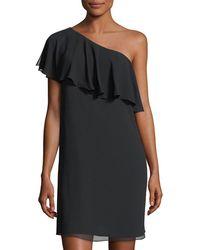 Cece by Cynthia Steffe - Crinkle Chiffon One-shoulder Minidress - Lyst