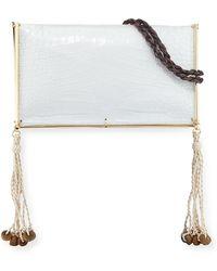 Elizabeth and James - Wire Frame Crocodile-embossed Boho Bag White/multi - Lyst