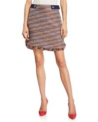 Laundry by Shelli Segal Space-dye Boucle Mini Skirt W/ Fringe Trim