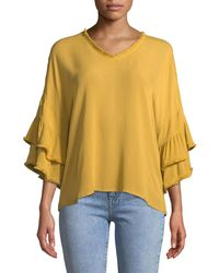 Neiman Marcus - Tiered-sleeve Frayed Peasant Blouse - Lyst
