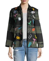 Libertine - Tie-dye Army Jacket With Letter Embroidery - Lyst