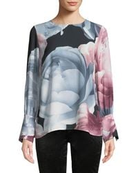 Cece by Cynthia Steffe - Cuffed Tie-sleeve Floral Blouse - Lyst