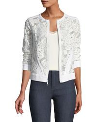 Three Dots - Lace Zip-front Jacket - Lyst