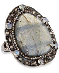 Bavna - Silver Oval Ring With Labradorite & Diamonds Size 7 - Lyst