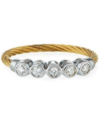 Alor - Cable & 5-diamond Bezel Ring In Yellow Size 6.5 - Lyst