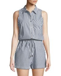 Dex - Striped Cotton Shirting Romper - Lyst