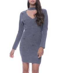 Endless Rose - Embellished Choker-neck Sweaterdress - Lyst