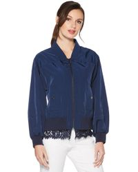 Laundry by Shelli Segal - Lace Trim Bomber Jacket - Lyst