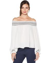 Laundry by Shelli Segal - Off The Shoulder Balloon Sleeve Top - Lyst