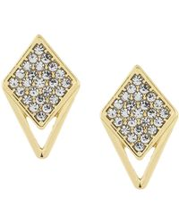 Laundry by Shelli Segal - Pave Triangle Post Earrings - Lyst