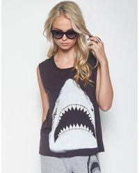 Lauren Moshi - Kel Shark Scoop Neck Muscle Tank - Lyst