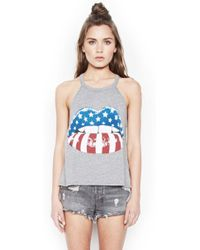 Lauren Moshi - Libby Rocker Color Mouth Crop High Neck Tank - Lyst