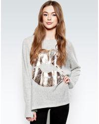 Lauren Moshi - Hollis Rose Gold Foil Lip L/s Cashmere Pullover Sweater W/thumbholes - Lyst