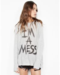 Lauren Moshi - Hollis I'm A Mess L/s Cashmere Pullover Sweater W/thumbholes - Lyst