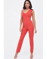 d0b04784a25 Lavish Alice - Double Layer Lapel One Shoulder Tailored Jumpsuit In Red -  Lyst