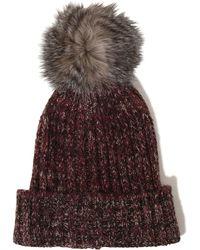 Lavish Alice - Burgundy Salt & Pepper Knit Faux Fur Pom Pom Beanie Hat - Lyst