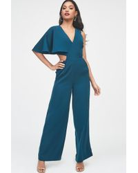Lavish Alice - One Sleeve Cutout Wide Leg Jumpsuit In Forest Green - Lyst