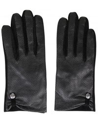 Pieces - Black Perforated Leather & Suede Gloves - Lyst
