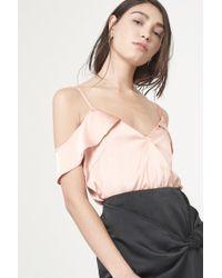 Lavish Alice   Rippled Camisole Bodysuit In Apricot Satin   Lyst
