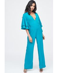 b6b56666a4c Lavish Alice - Exaggerated Double Frill Sleeve Wide Leg Jumpsuit In Jade  Green - Lyst