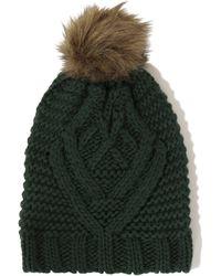 Lavish Alice - Dark Green Knit Faux Fur Pom Pom Beanie Hat - Lyst