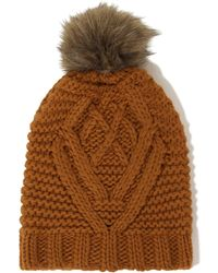 Lavish Alice - Rust Knit Faux Fur Pom Pom Beanie Hat - Lyst