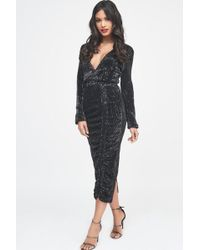Lavish Alice - Pleated Sequin Ruched Side Midi Dress In Black - Lyst