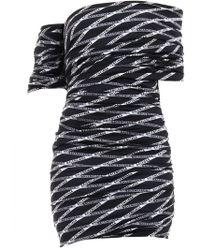 Balenciaga - Off-the-shoulder Ruched Printed Stretch-satin Mini Dress - Lyst