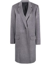 Helmut Lang - Grey Single Breasted Coat - Lyst