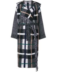 Stella McCartney - Hooded Checked Wool-blend Coat - Lyst