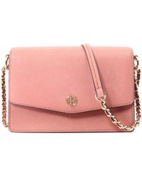 d017f6ae3089 Lyst - Tory Burch Robinson Textured-leather Shoulder Bag in Pink