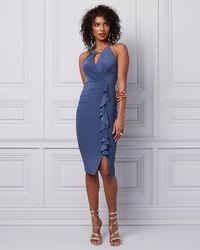 Le Chateau - Knit Wrap-like Ruffle Dress - Lyst