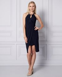 Le Chateau - Knit Wrap-like Halter Dress - Lyst