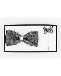 Le Chateau - Rhinestone Bow Tie & Lapel Pin Set - Lyst