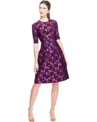 Lela Rose - Floral Matelassé Holly Elbow Sleeve Dress - Lyst