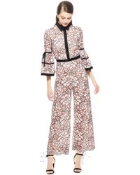 Lela Rose - Floral Corded Lace Full Sleeve Jumpsuit - Lyst