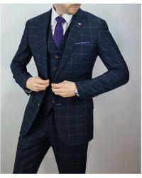 leonard silver | Navy Windowpane Check 3piece Suit | Lyst