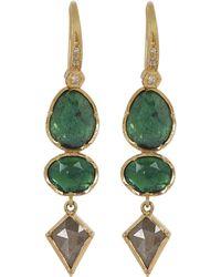 Brooke Gregson - Gold Orbit Emerald Diamond Geometric Drop Earrings - Lyst