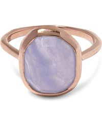Monica Vinader - Rose Gold Vermeil Siren Medium Blue Lace Agate Stacking Ring - Lyst