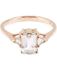 Anna Sheffield - Rose Gold Bea Rainbow Moonstone Three Stone Ring - Lyst