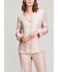 Liberty Hera Silk Jacquard Pyjama Set - Pink