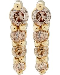 Anna Sheffield - Gold Pavé Pointe Stud Earrings - Lyst