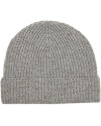 Johnstons - Mid Grey Ribbed Cashmere Beanie - Lyst