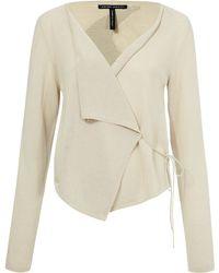 Sarah Pacini - Beige Zaida Drape Front Jacket - Lyst