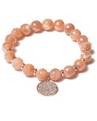 Tai - Rose Disc Charm Beaded Bracelet - Lyst