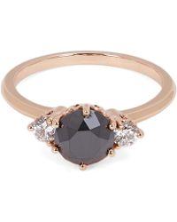 Anna Sheffield - Rose Gold White Diamond Three-stone Hazeline Ring - Lyst