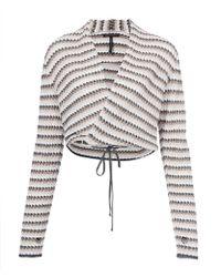 Sarah Pacini - Light Pink Striped Wrap Around Tie Waist Jacket - Lyst