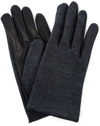 Lanvin - Charcoal Wool And Leather Gloves - Lyst
